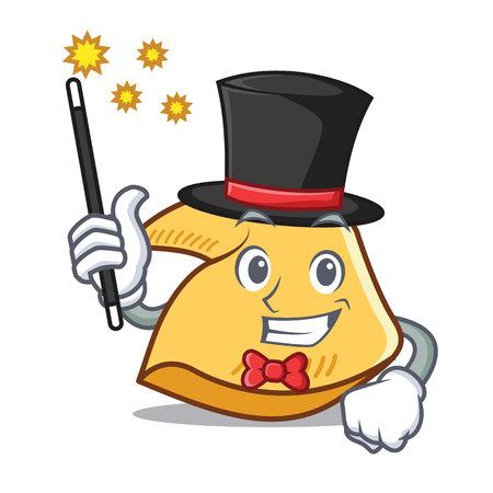 Magician fortune cookie character cartoon illustration.