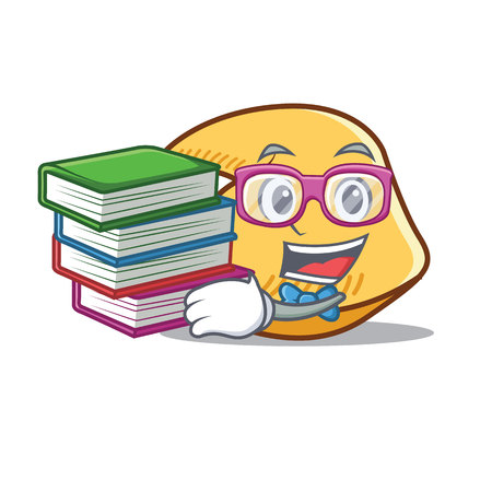 Student with books fortune cookie character cartoon illustration.