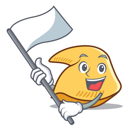 Fortune cookie character with white flag cartoon illustration.
