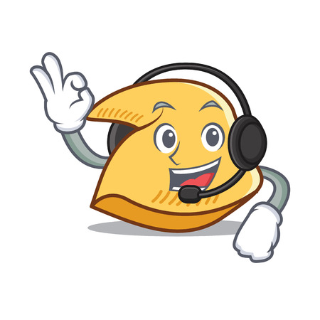 Fortune cookie character with headphones cartoon illustration. Illustration