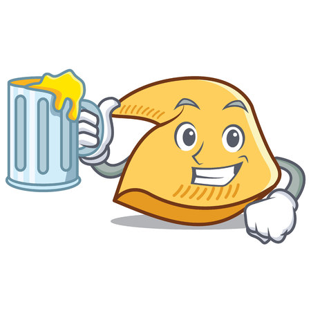 Fortune cookie character with mug of beer cartoon illustration.