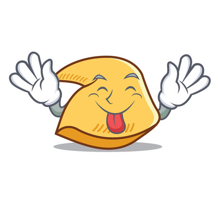 Tongue out fortune cookie character cartoon illustration. Illustration