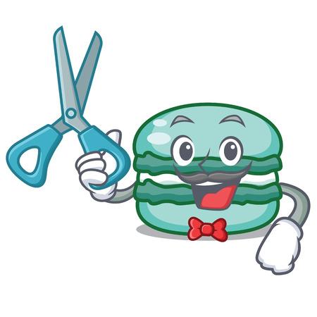 Barber macaron character cartoon style Illustration