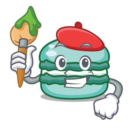 Artist macaron character cartoon style Illustration