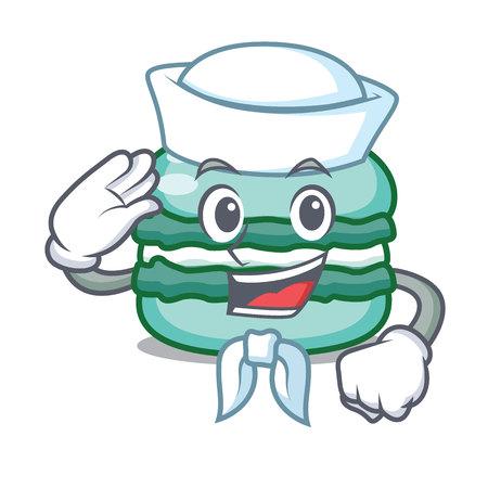 Sailor macaron character cartoon style Illustration