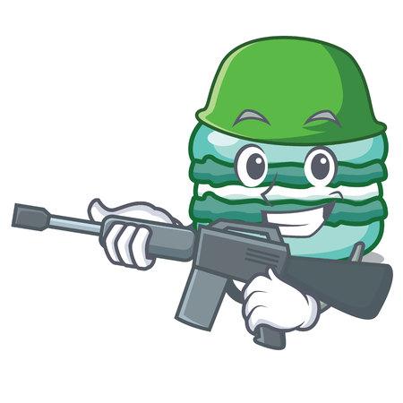 Army macaron character cartoon style