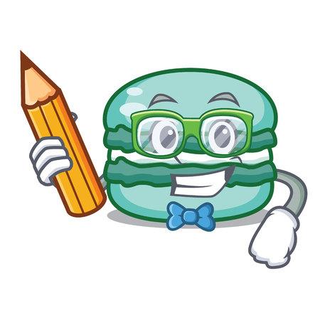 Student macaron character cartoon style vector illustration