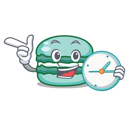 With clock macaron character cartoon style vector illustration