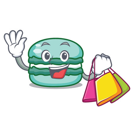 Shopping macaron character cartoon style vector illustration