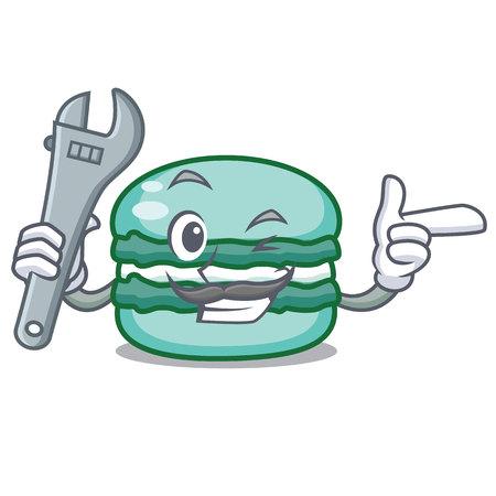 Mechanic macaroon character cartoon style