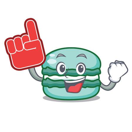 Foam finger macaron character cartoon style vector illustration
