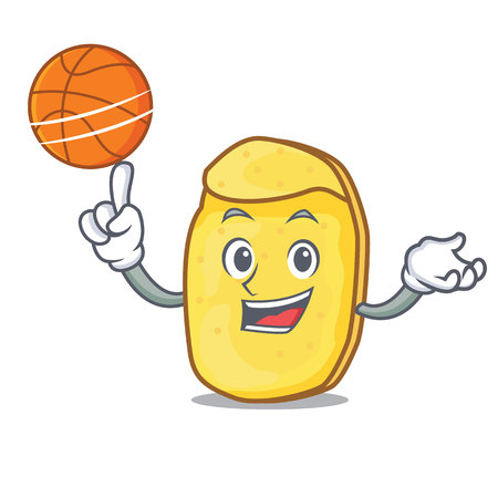 With basketball potato chips character cartoon vector illustration Çizim