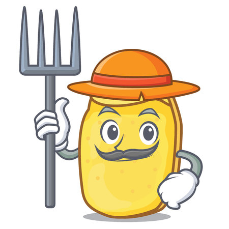 Farmer potato chips character cartoon vector illustration