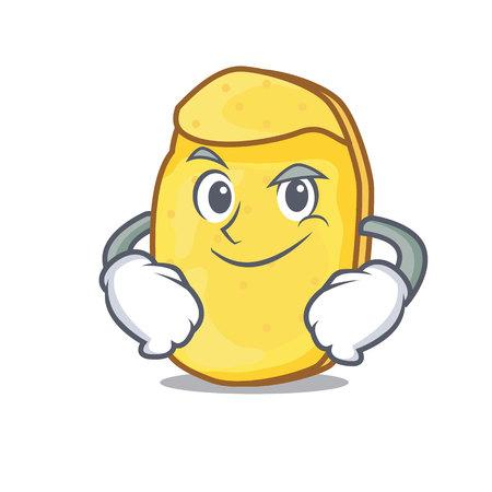 Smirking potato chips character cartoon
