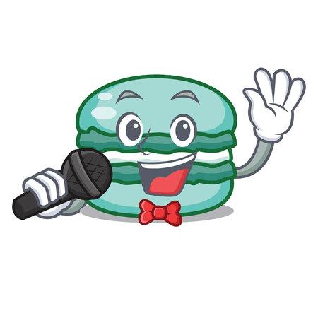 Singing macaron character cartoon style Illusztráció