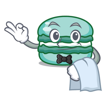 Waiter macaron character cartoon style