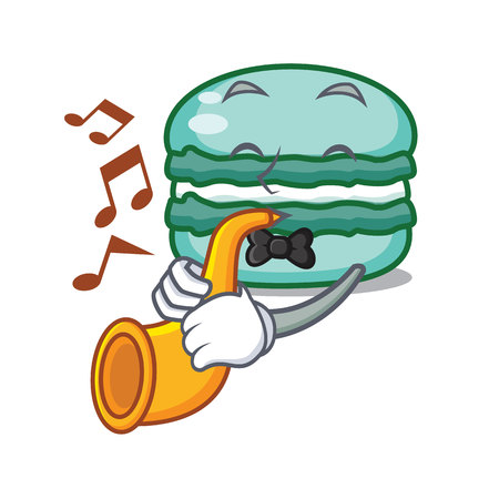 With trumpet macaron character cartoon style