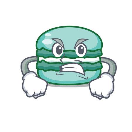 Angry macaron character cartoon style