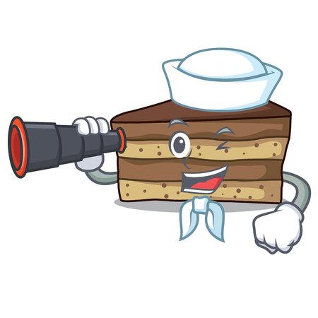 sailor with binocular tiramisu mascot cartoon style Vector illustration.