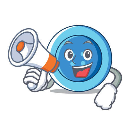 With megaphone clothing button character cartoon Illustration