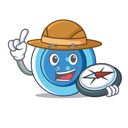 Explorer clothing button character cartoon Illustration