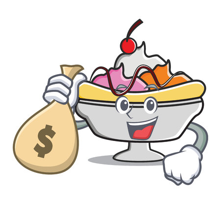 With money bag banana split character cartoon Illustration