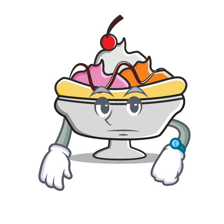Waiting banana split mascot cartoon vector illustration