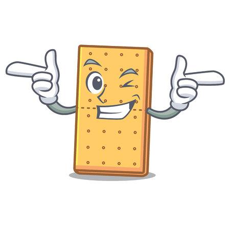 Wink graham cookies character cartoon vector illustration