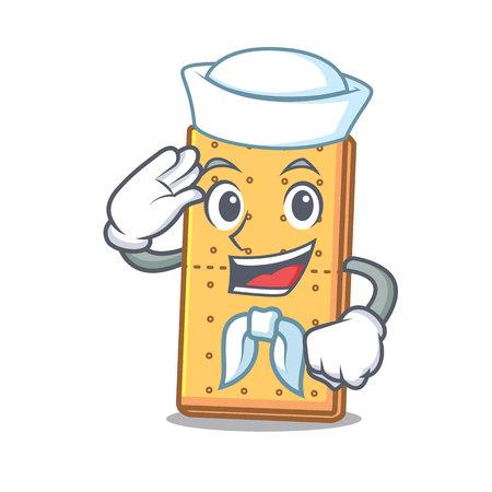 Sailor graham cookies character cartoon vector illustration Ilustrace