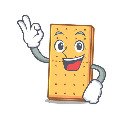 Okay graham cookies character cartoon vector illustration
