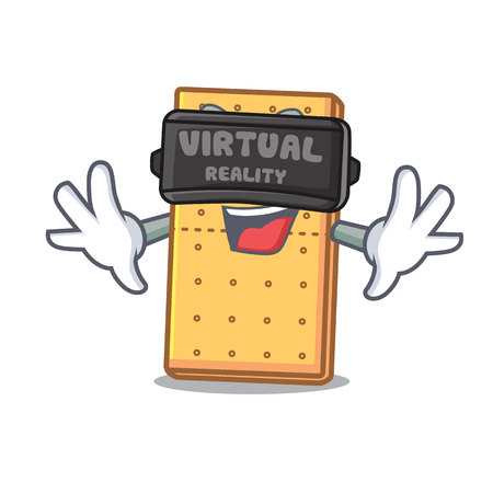 Virtual reality graham cookies mascot cartoon vector illustration