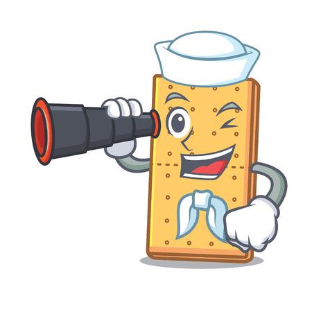 Sailor with binocular graham cookies mascot cartoon Vector illustration.