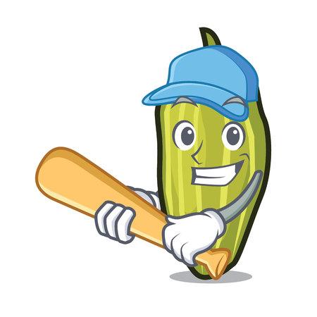 Playing baseball cardamom character cartoon style Vector illustration. Illustration