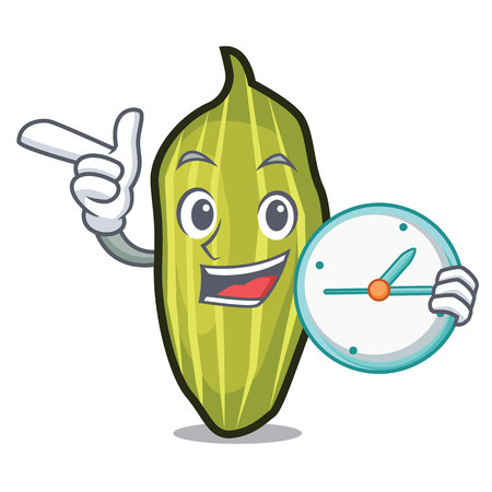 Clock cardamom character cartoon style vector illustration