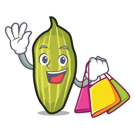 Shopping cardamom character cartoon style vector illustration
