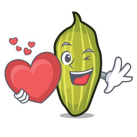 With heart cardamom mascot cartoon style Vector illustration.  イラスト・ベクター素材