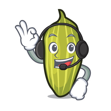 Headphone cardamom mascot cartoon style
