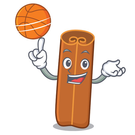 With basketball cinnamon character cartoon style