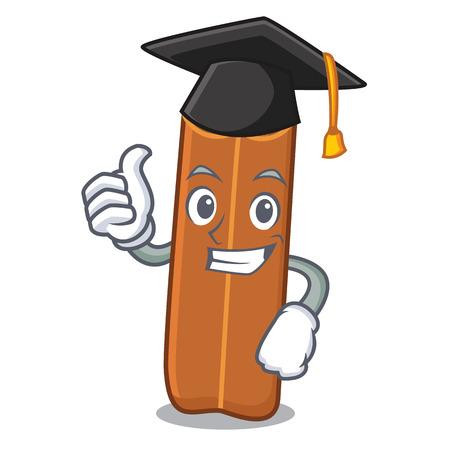 Graduation cinnamon character cartoon style vector illustration