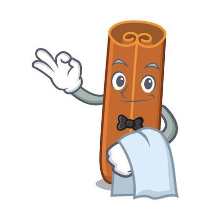 Waiter cinnamon mascot cartoon style