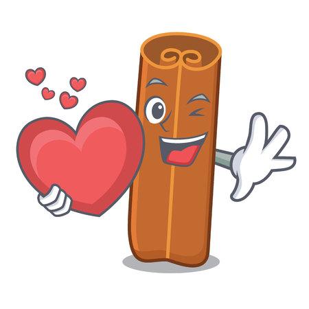 With heart cinnamon mascot cartoon style Illustration
