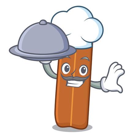 Chef with food cinnamon mascot cartoon style Illustration