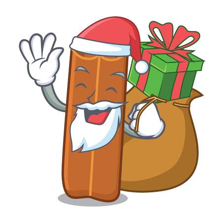 Santa with gift cinnamon mascot cartoon style 일러스트