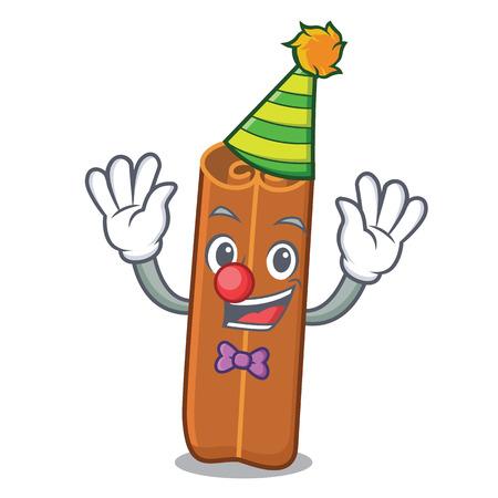 Clown cinnamon mascot in cartoon style