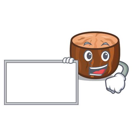 With board nutmeg character cartoon style vector illustration