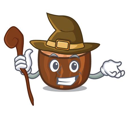 Witch nutmeg mascot cartoon style vector illustration
