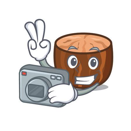 Photographer nutmeg mascot cartoon style vector illustration