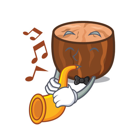 Trumpet nutmeg mascot cartoon style vector illustration Illustration