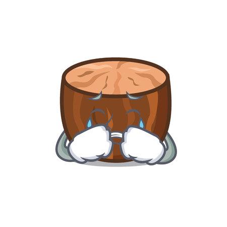 Crying nutmeg mascot cartoon style vector illustration
