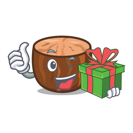 With gift nutmeg mascot cartoon style vector illustration